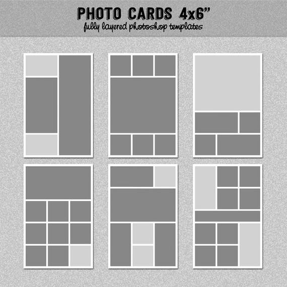 "4x6 Postcard Template Photoshop Best Of 6 Card Templates 4x6"" Set 2 Instagram Collage"