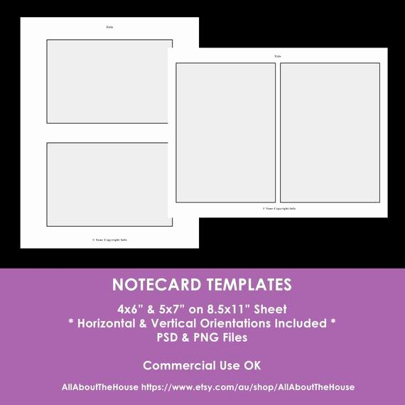 4x6 Postcard Template Photoshop Fresh Notecard Shop Templates 4 X 6 Inch 5 X 7 Inch
