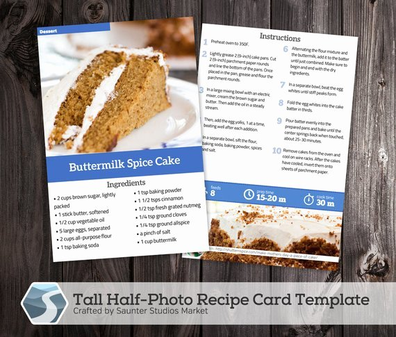 tall half photo recipe card 4x6