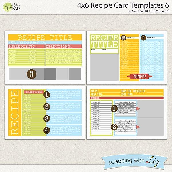 4x6 Postcard Template Word New Digital Scrapbook Templates 4x6 Recipe Card 6