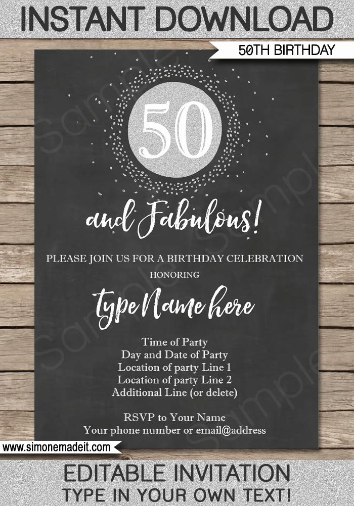 50th Anniversary Invitation Template Inspirational Chalkboard 50th Birthday Invitation Template