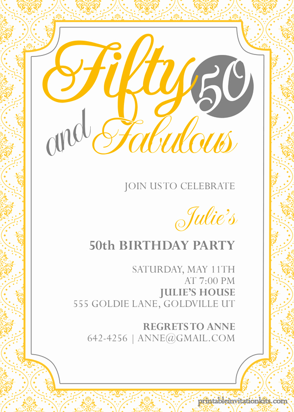 50th Anniversary Invitation Template New Fifty and Fabulous – 50th Birthday Invitation ← Wedding