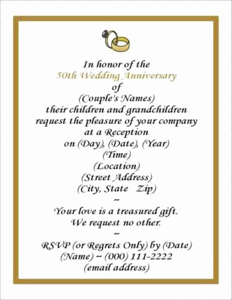 50th Anniversary Invitation Template Unique Free Wedding Anniversary Invitation Template