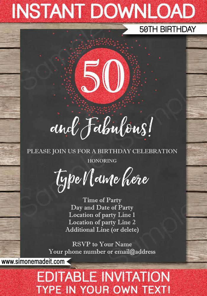 50th Birthday Invitation Template Lovely Chalkboard 50th Birthday Invitations Template