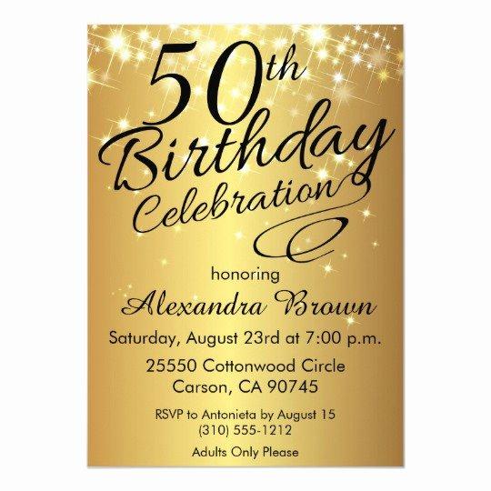 50th Birthday Invitation Template Unique Sparkly Gold 50th Birthday Invitations
