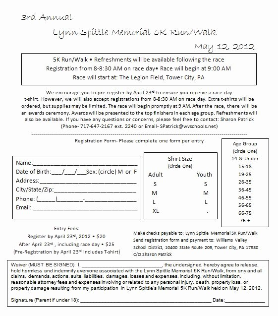 5k Registration form Template Awesome Run and Eat Simply Lynn Spittle Memorial 5k Run Walk May