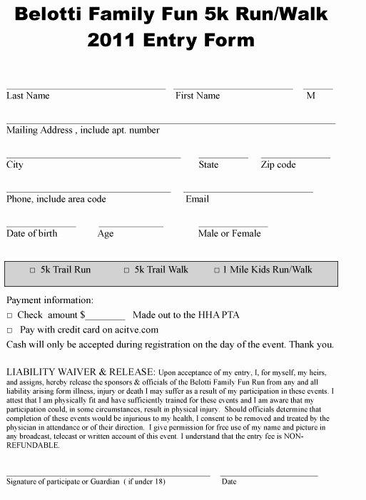 5k Registration form Template Best Of Belotti5krun