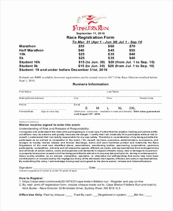 5k Registration form Template Fresh Registration form Templates
