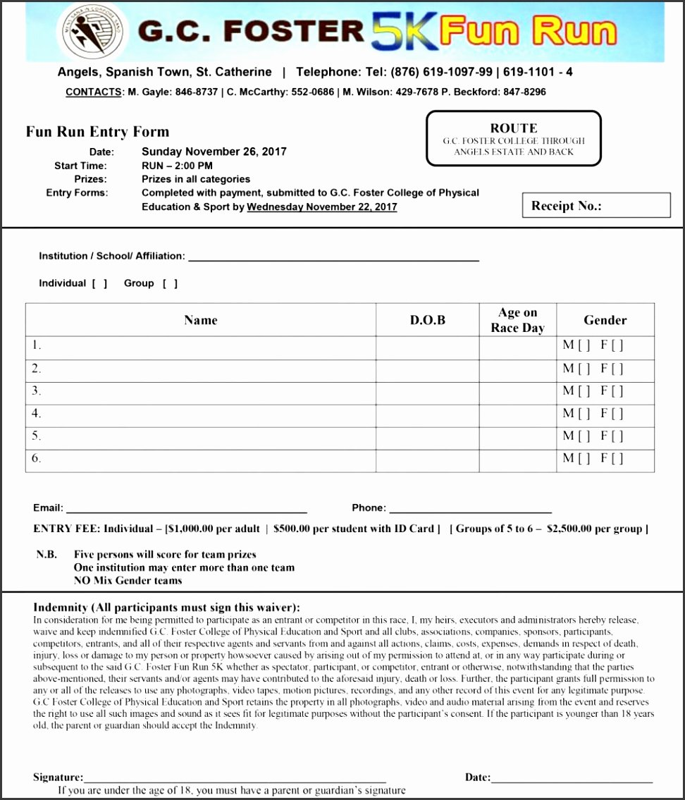 5k Registration form Template Inspirational 8 Sports Camp Registration form Template