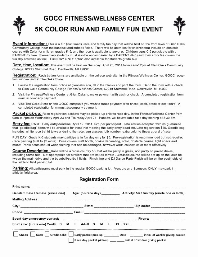 5k Registration form Template Inspirational Color Run Entry form