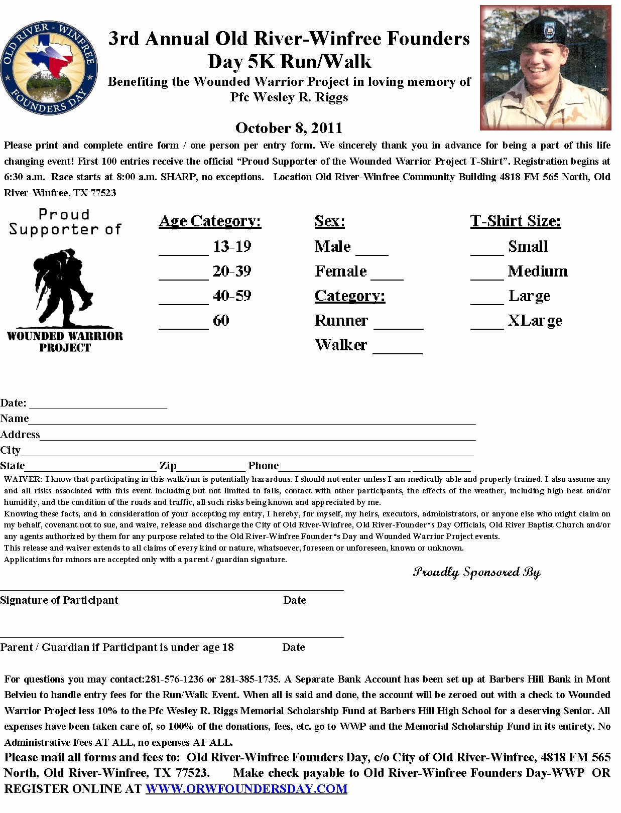 5k Registration form Template New Barbers Hill Scholarship Fund