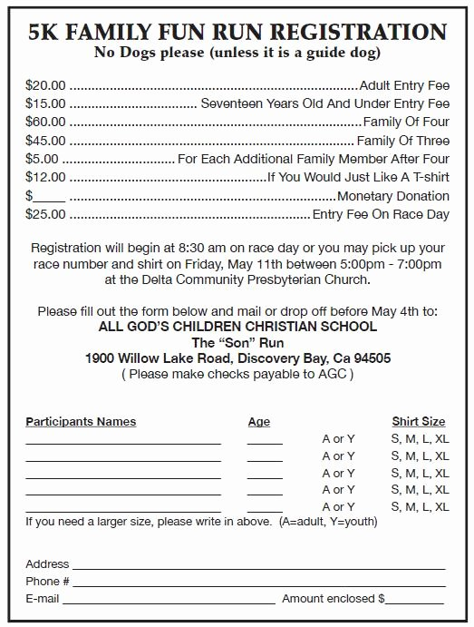 5k Registration form Template New Run event Registration form Run event Registration form