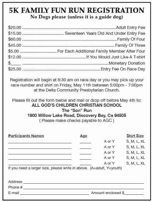5k Registration form Template New Run event Registration form Run event Registration form