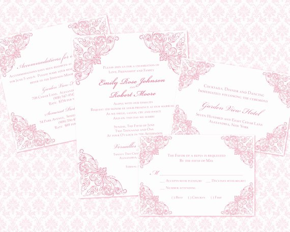 5x7 Invitation Template Word Awesome Diy Wedding Invitation Template Set 5x7 Invitation