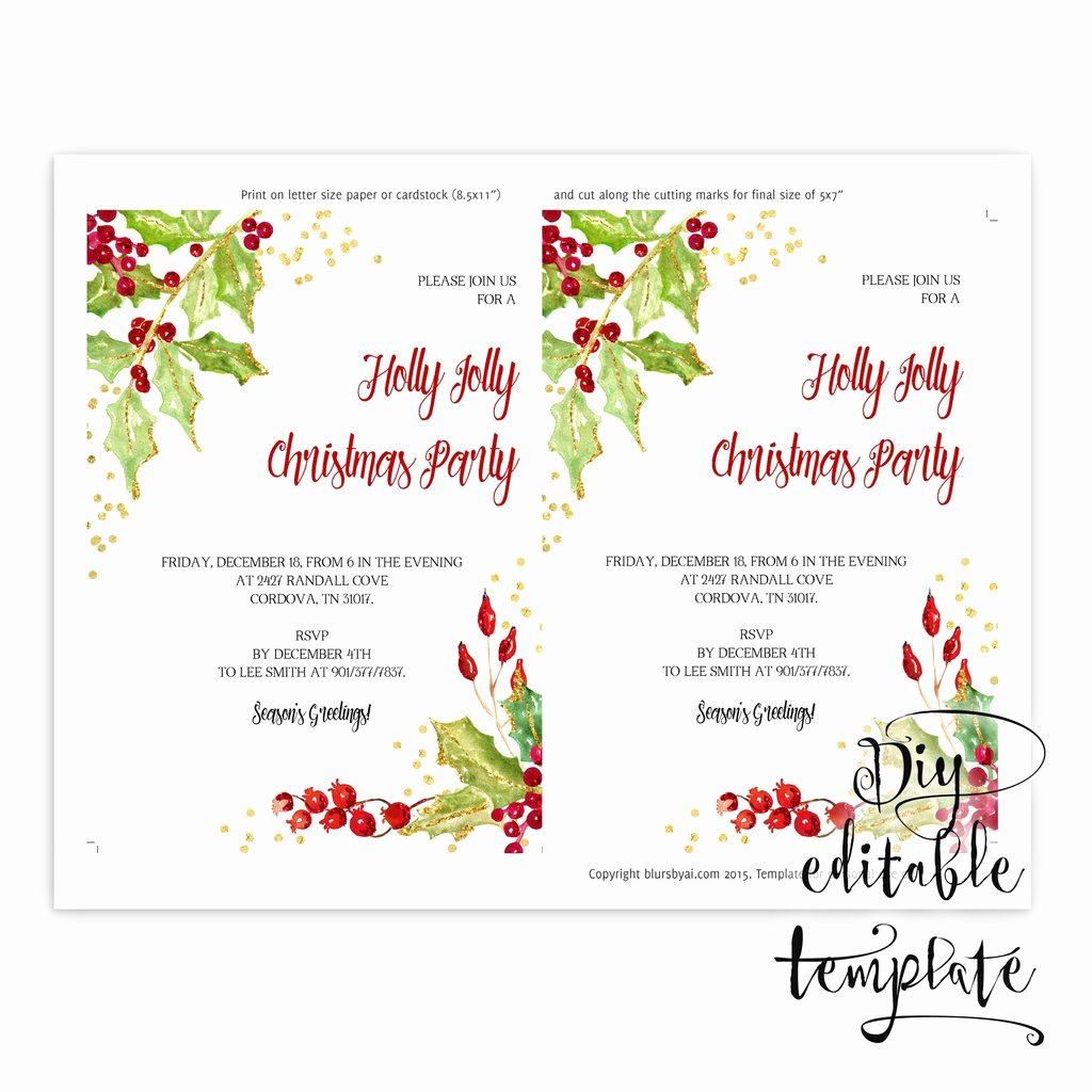 5x7 Invitation Template Word Beautiful Printable Christmas Party Invitation Template for Word In