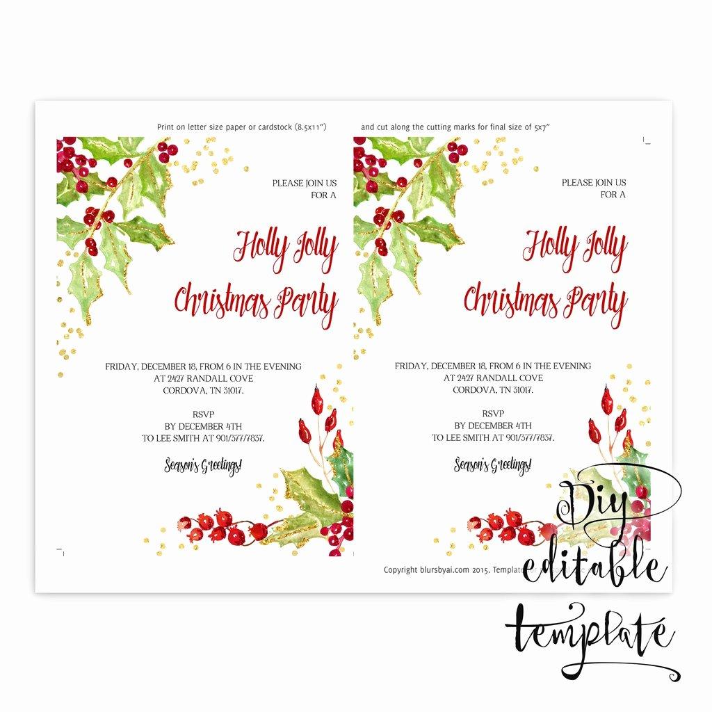 5x7 Invitation Template Word Beautiful Printable Christmas Party Invitation Template for Word In