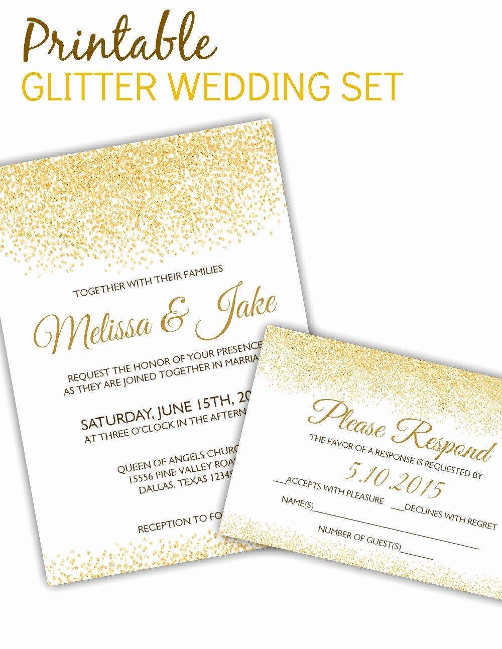 5x7 Invitation Template Word Best Of Printable Glitter Invitation & Rsvp Template Posh Pixel