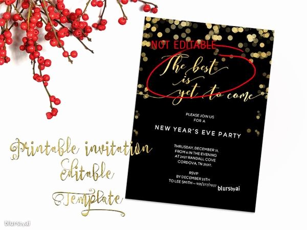 5x7 Invitation Template Word Elegant Printable New Year S Eve Party Invitation Template for