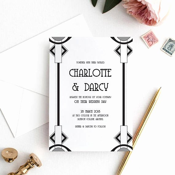 5x7 Invitation Template Word Inspirational Art Deco Wedding Invitation Gatsby Invitation Template 5x7