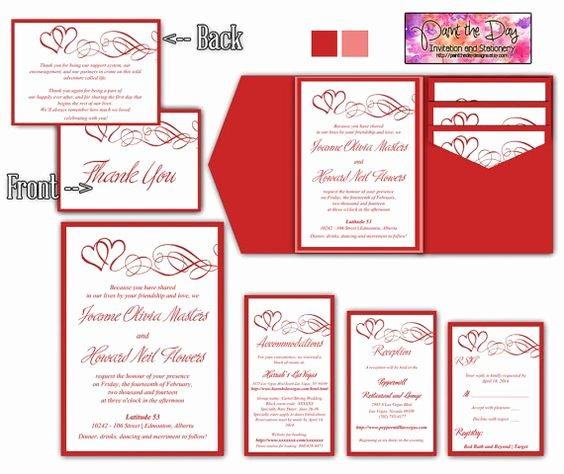 5x7 Invitation Template Word Lovely Double Heart Swirls 5x7 Wedding Pocketfold Microsoft Word