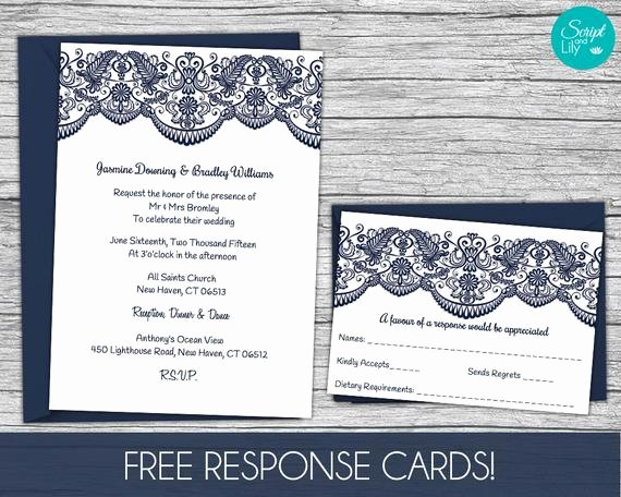 5x7 Invitation Template Word Lovely Lace Wedding Invitation Template Free Response Card Template