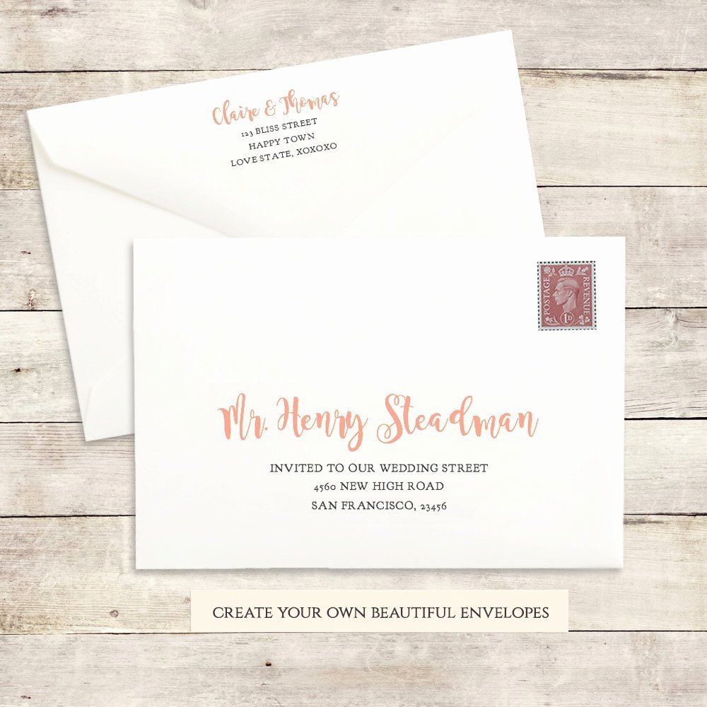 5x7 Invitation Template Word Lovely Printable Wedding Envelope Template 5x7 Front and Back