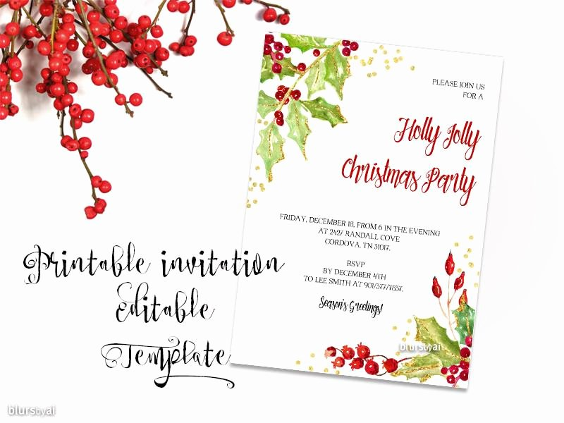 5x7 Invitation Template Word Luxury Printable Christmas Party Invitation Template for Word In
