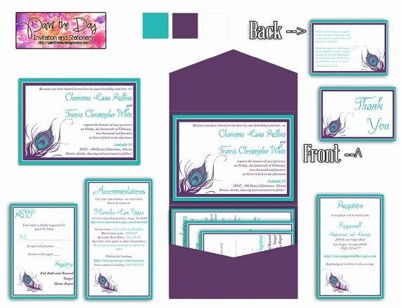 5x7 Invitation Template Word New Peacock Feather 5x7 Wedding Pocketfold Microsoft Word