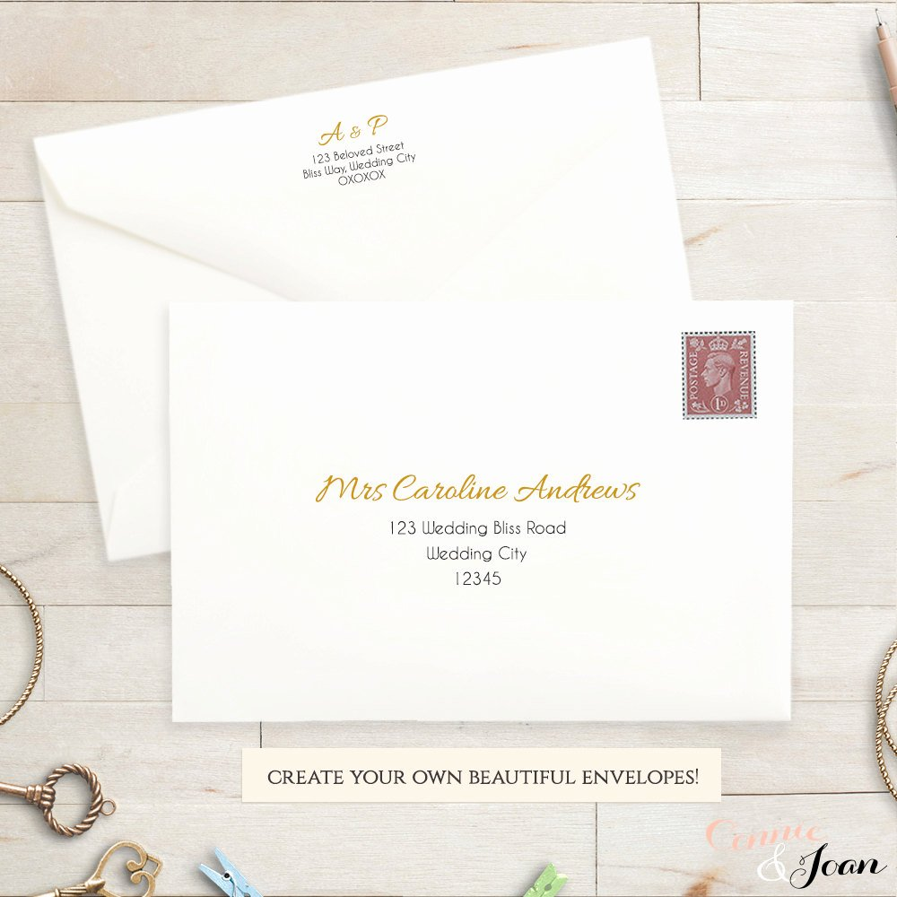 5x7 Invitation Template Word Unique Printable Wedding Envelope Template 5x7 Front and Back