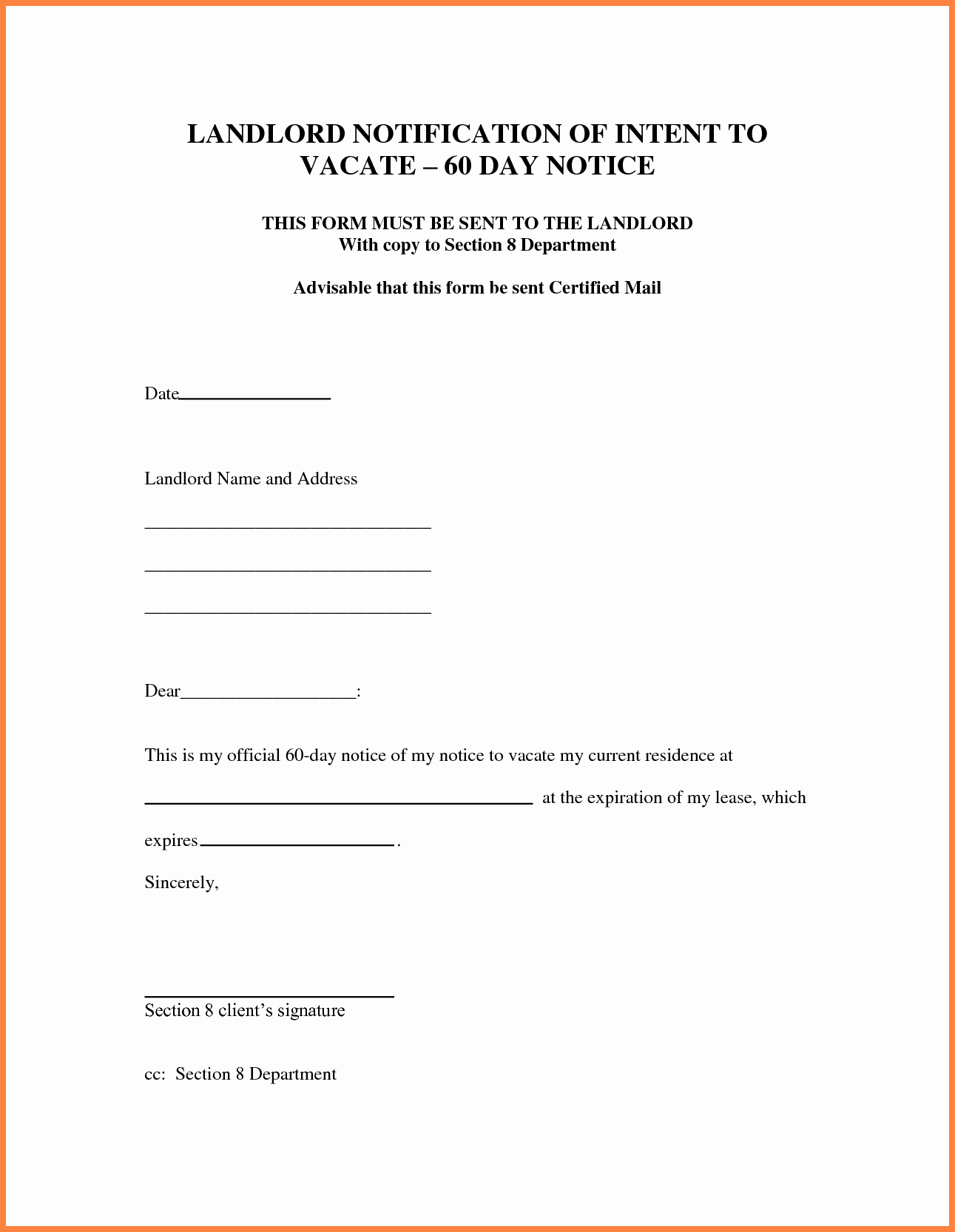 60 Day Notice Template Luxury 7 Sample Letter for 30 Day Notice to Landlord