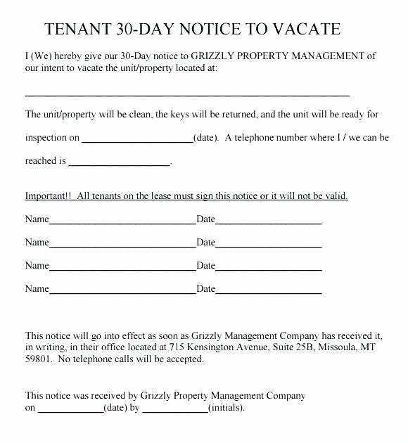 60 Day Notice Template New Gallery Day Notice Letter to Landlord Lease Termination