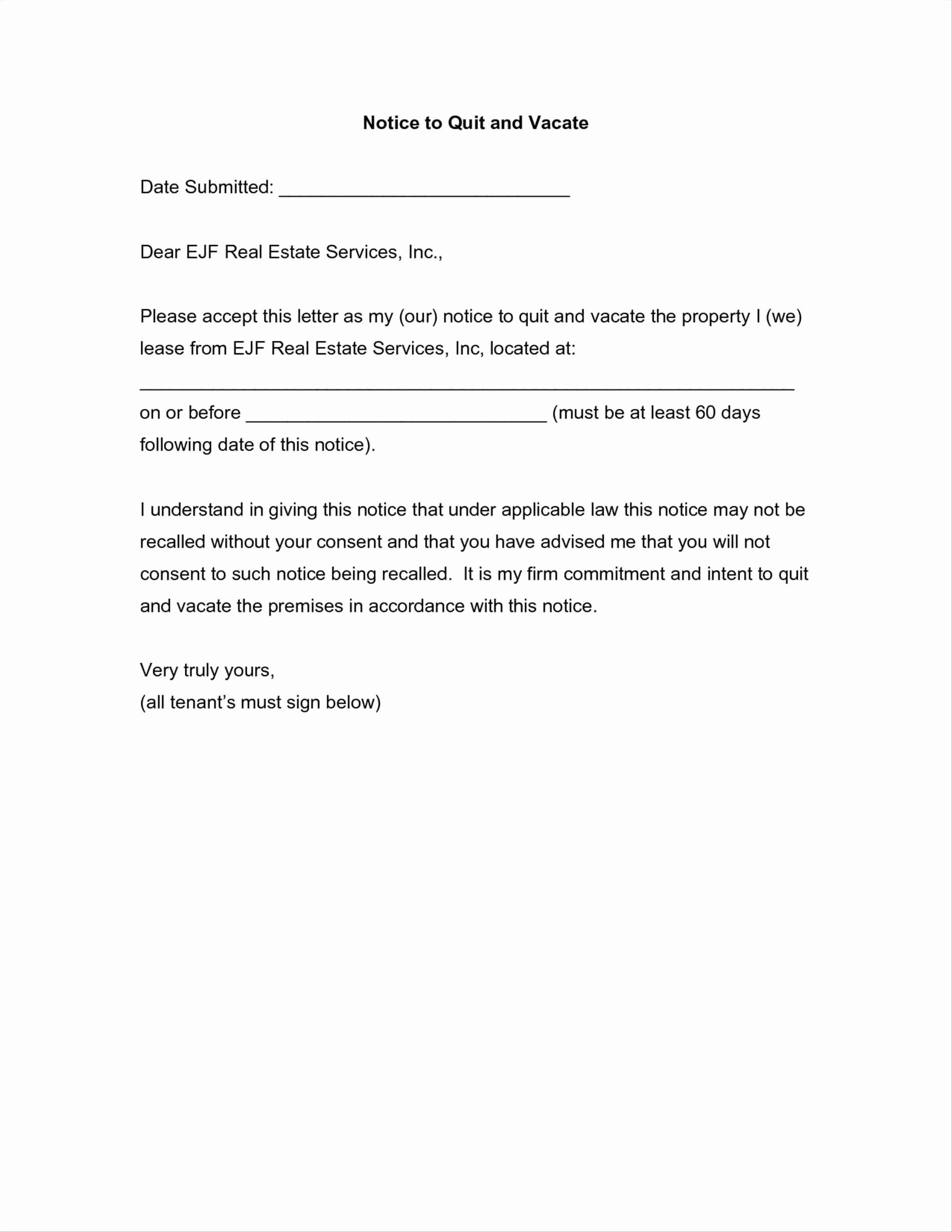 60 Day Notice Template New Notice to Vacate Apartment Letter Template Samples