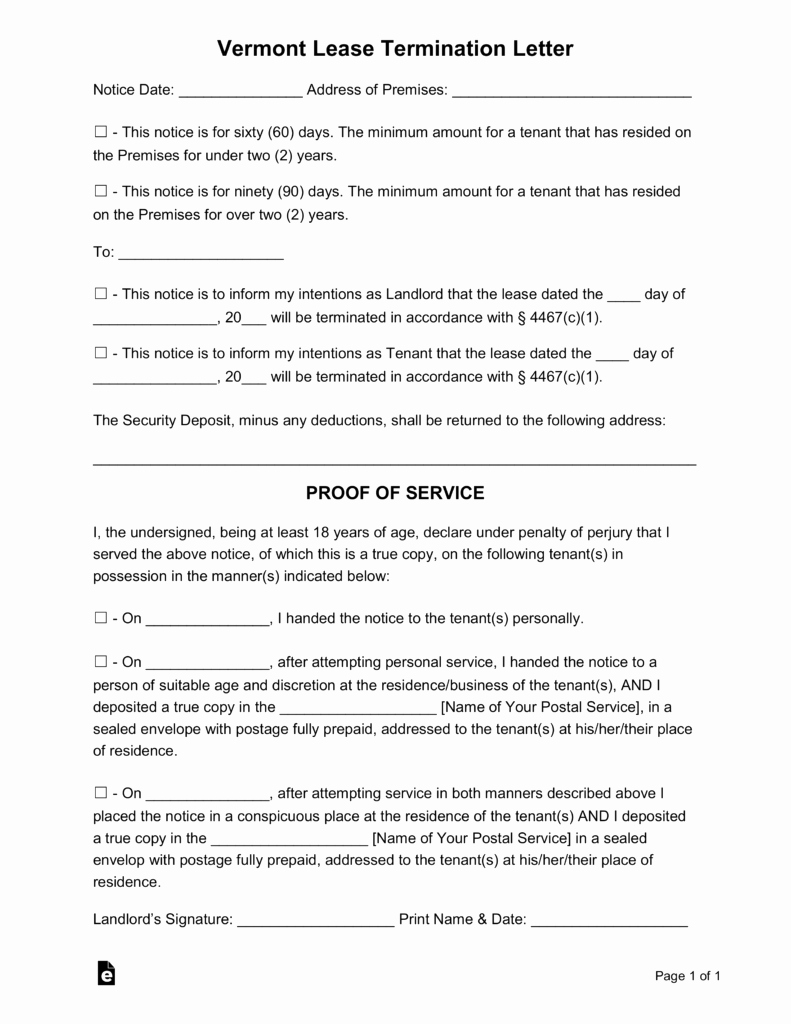 60 Day Notice Template Unique Free Vermont Lease Termination Letter form