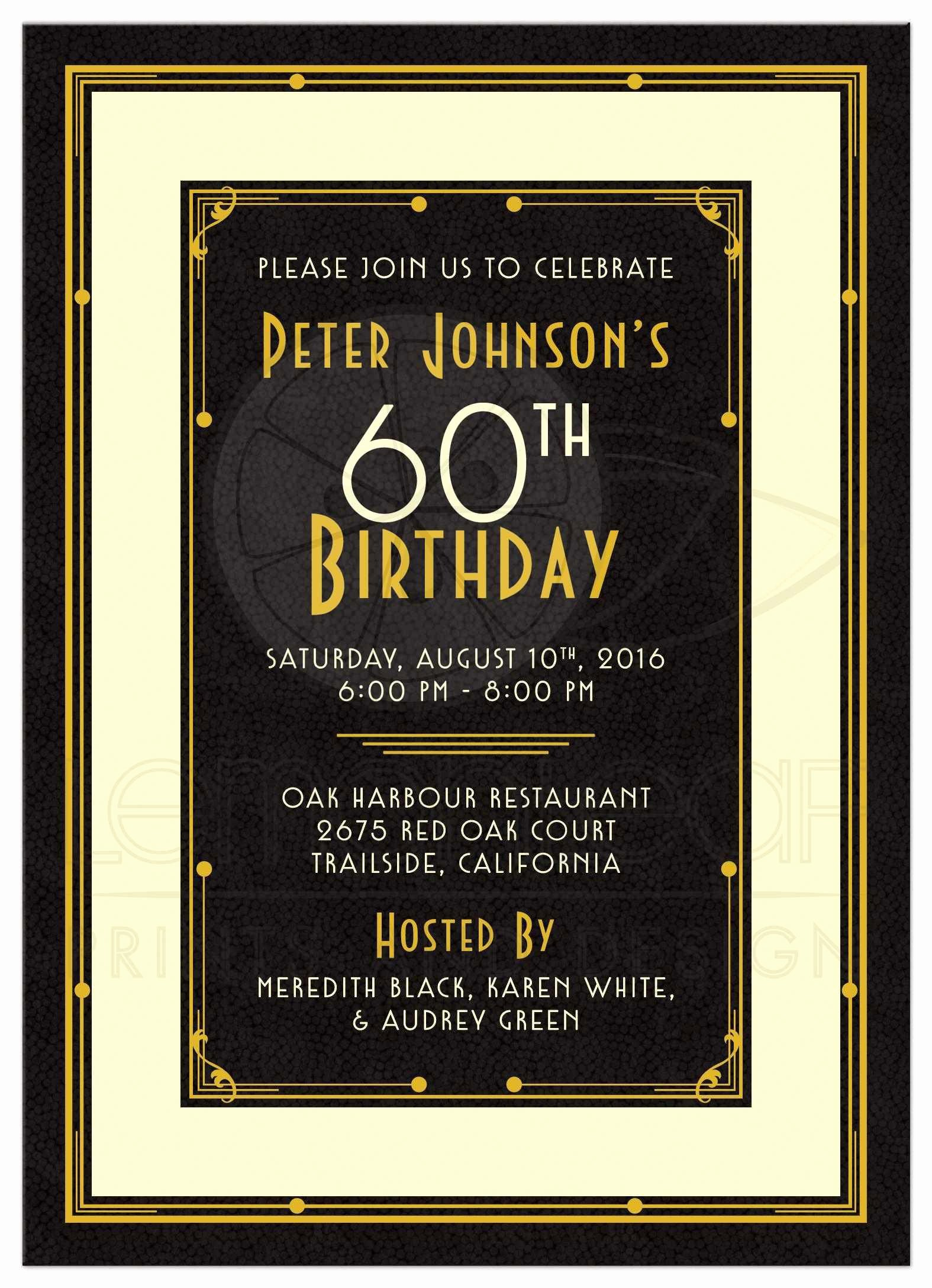 60th Birthday Invitation Template Awesome 60th Birthday Party Invitations