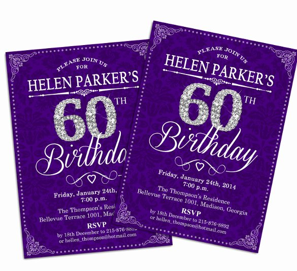 60th Birthday Invitation Template Fresh 28 60th Birthday Invitation Templates Psd Vector Eps