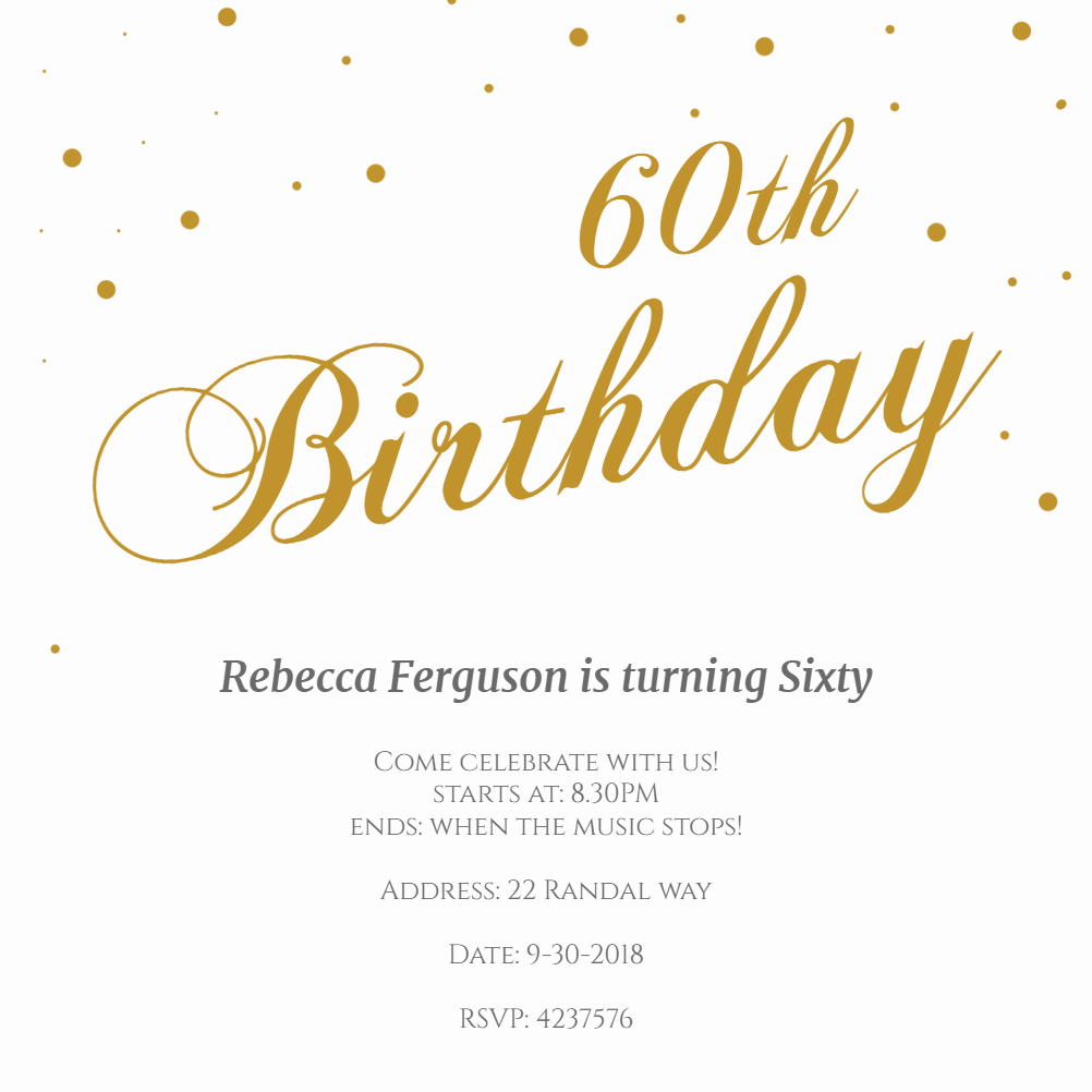 60th Birthday Invitation Template Fresh 60th Golden Flakes Free Birthday Invitation Template