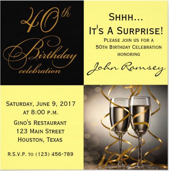60th Birthday Invitation Template Luxury 14 Surprise Birthday Invitations Free Psd Vector Eps