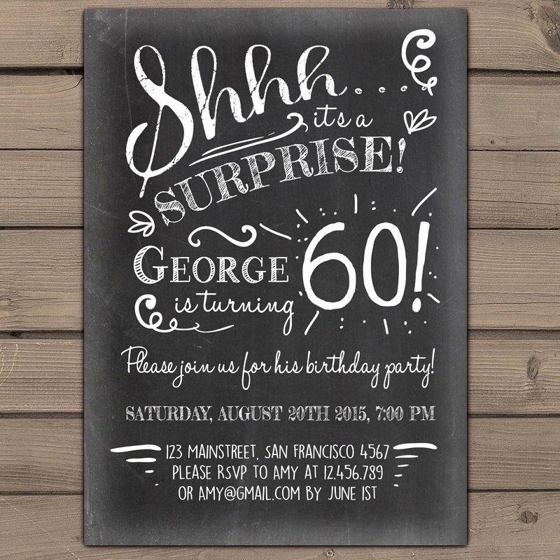 60th Birthday Invitation Template Unique Surprise 60th Birthday Invitation Chalkboard Invitation