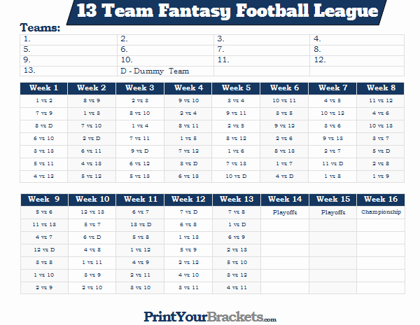 fantasy football league schedule 13 teams