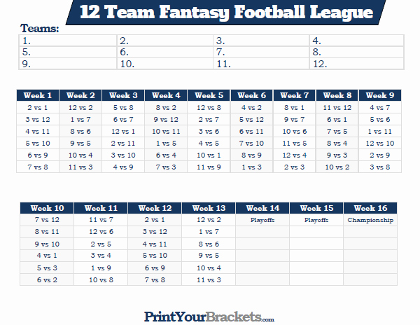 8 Team Schedule Template Fresh Printable 12 Team Fantasy Football League Schedule