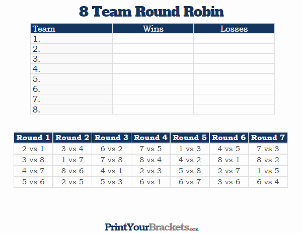 8 Team Schedule Template New 8 Team Round Robin Printable tournament Bracket