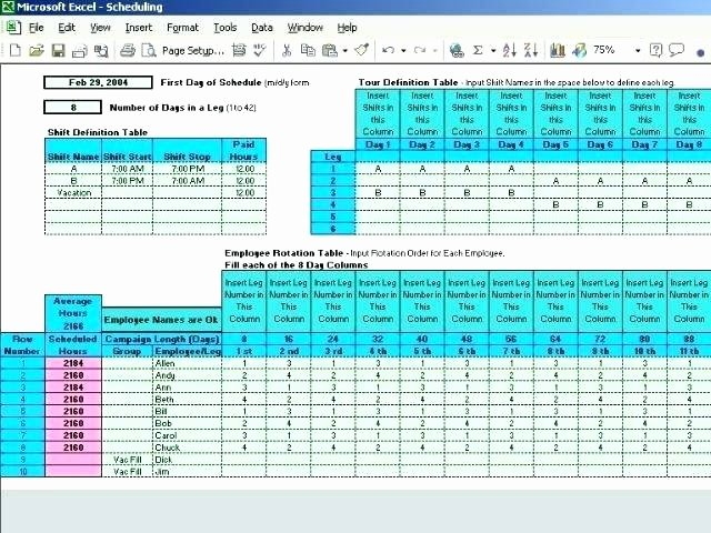 8 Team Schedule Template New Team Work Schedule Template 4 Construction Double
