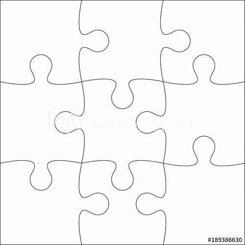 9 Piece Puzzle Template Best Of Jigsaw Puzzle Blank Template or Cutting Guidelines Of 9