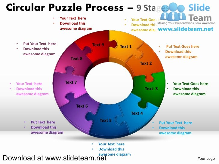 9 Piece Puzzle Template Elegant 9 Pieces Pie Chart Circular Puzzle with Hole In Center