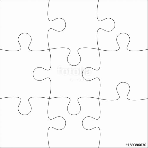 "9 Piece Puzzle Template Inspirational ""jigsaw Puzzle Blank Template or Cutting Guidelines Of 9"