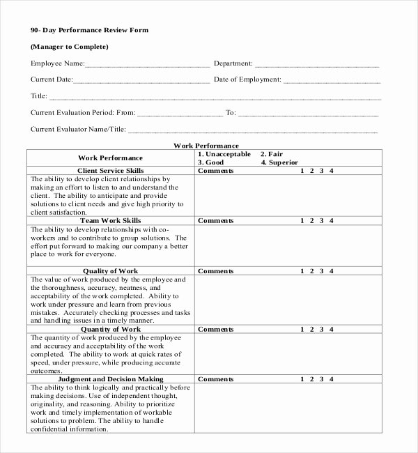 90 Day Review Template Awesome 13 Sample Employee Review forms