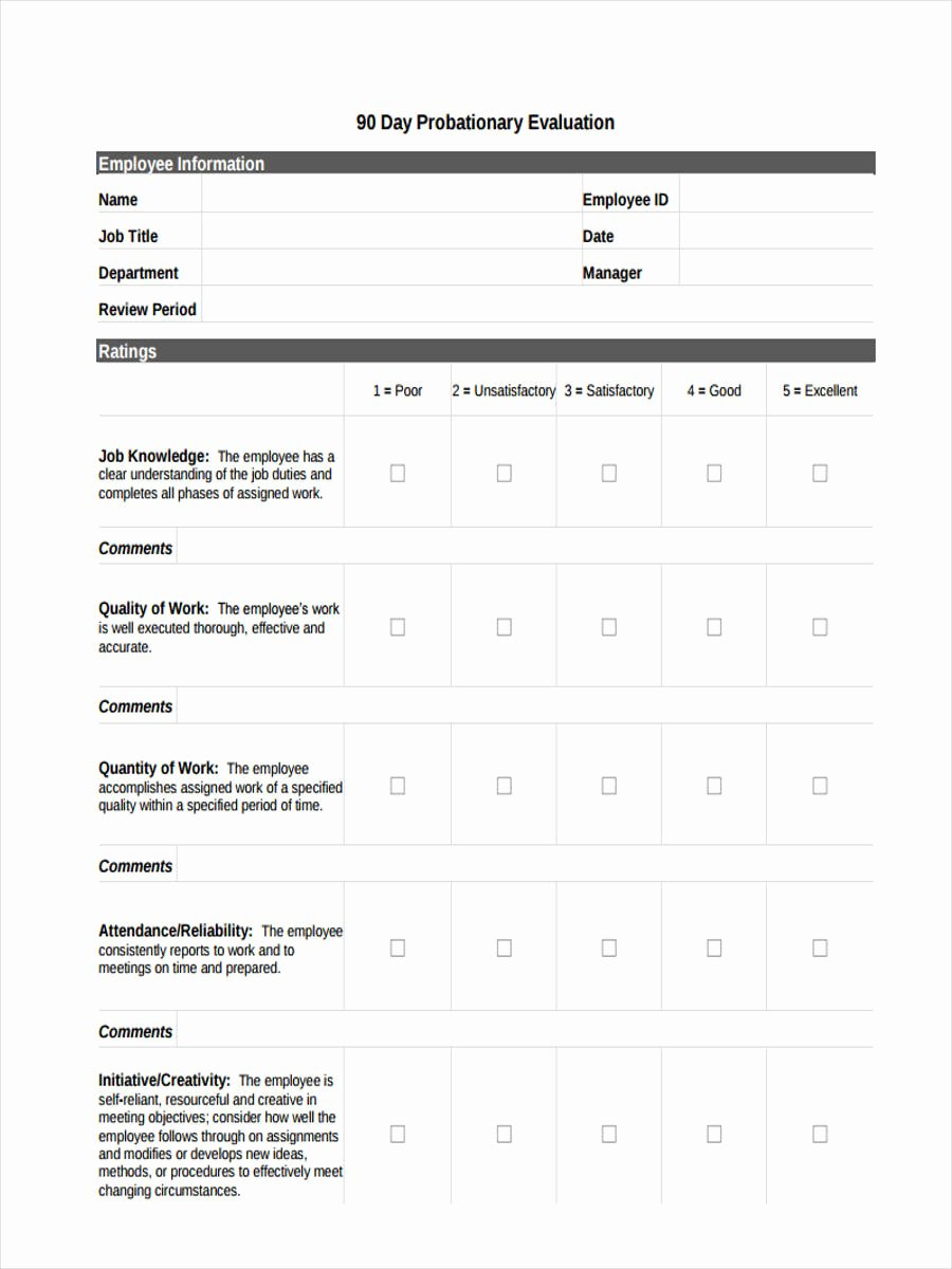 90 Day Review Template Beautiful 10 Probation Review form Sample Free Sample Example