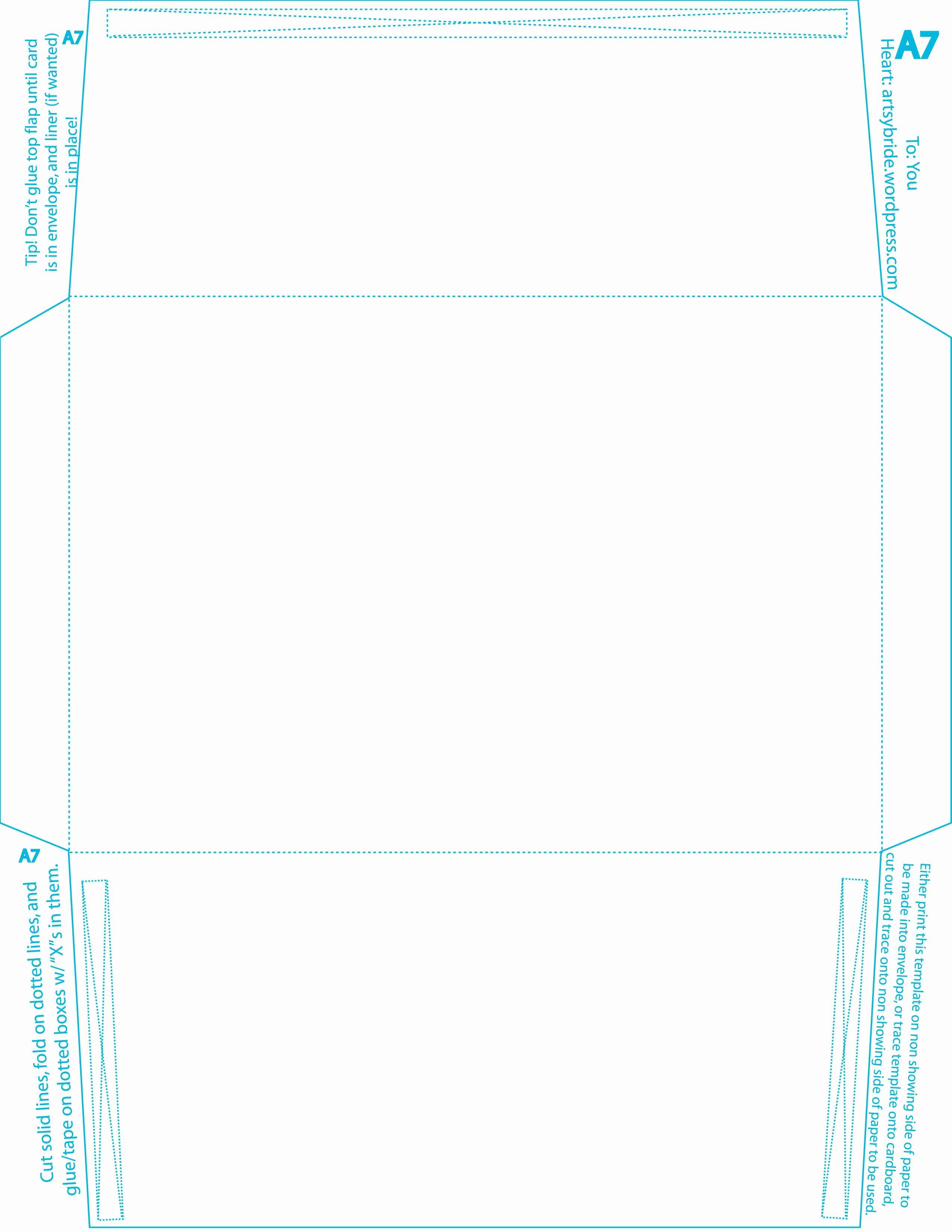A7 Envelope Template Word Elegant Diy – Envelopes & Liners
