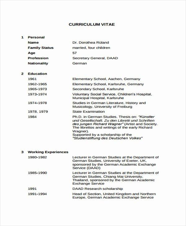Academic Curriculum Vitae Template Elegant 11 Academic Curriculum Vitae Templates Pdf Doc