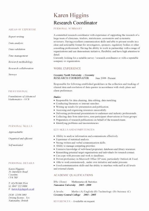 Academic Curriculum Vitae Template Fresh Academic Resume Template